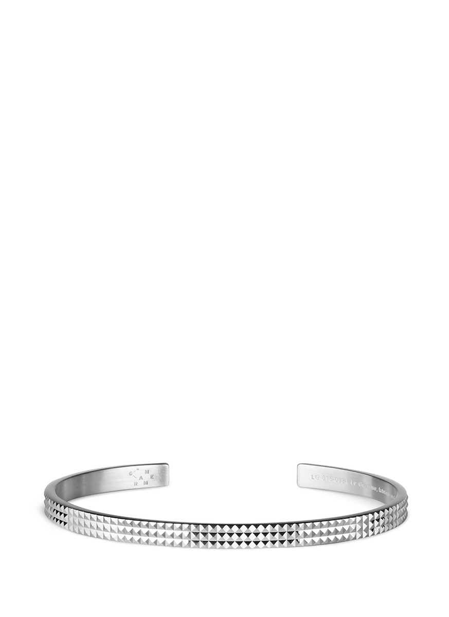 Guilloché Le 13 Grammes stud sterling silver cuff by Le Gramme