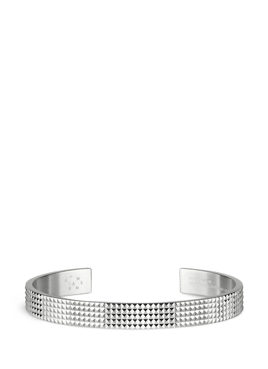 Guilloché Le 23 Grammes stud sterling silver cuff by Le Gramme