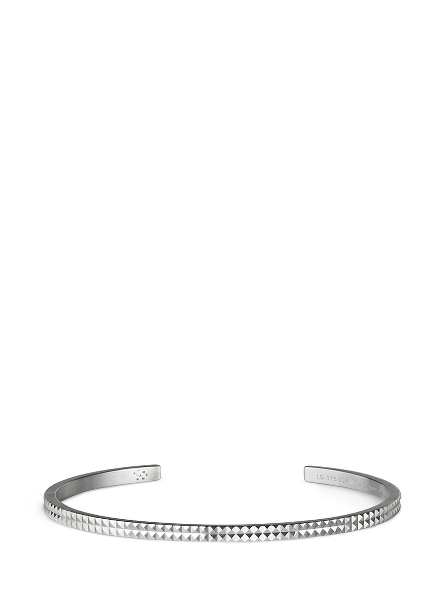 Guilloché Le 9 Grammes stud sterling silver cuff by Le Gramme