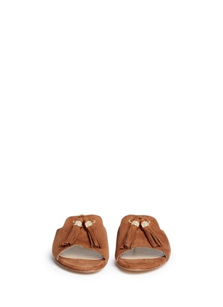 Front View - Click To Enlarge - Stuart Weitzman - 'Two Tassels' suede slide sandals