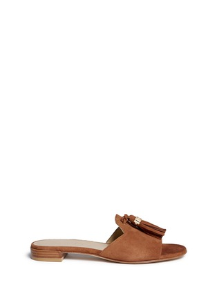 Main View - Click To Enlarge - Stuart Weitzman - 'Two Tassels' suede slide sandals
