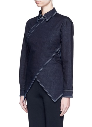 Front View - Click To Enlarge - Stella McCartney - 'Irene' asymmetric wrap front denim shirt
