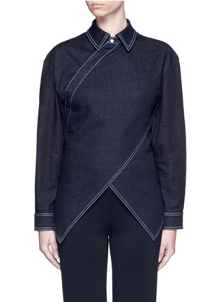 Main View - Click To Enlarge - Stella McCartney - 'Irene' asymmetric wrap front denim shirt