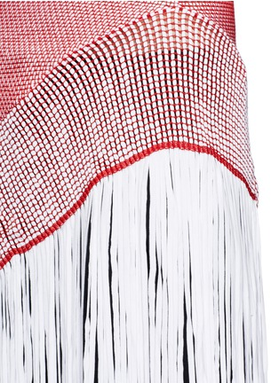 Detail View - Click To Enlarge - Stella McCartney - Asymmetric distressed mesh knit fringe top
