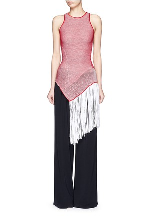 Main View - Click To Enlarge - Stella McCartney - Asymmetric distressed mesh knit fringe top