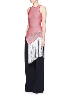 STELLA MCCARTNEY Asymmetric distressed mesh knit fringe top
