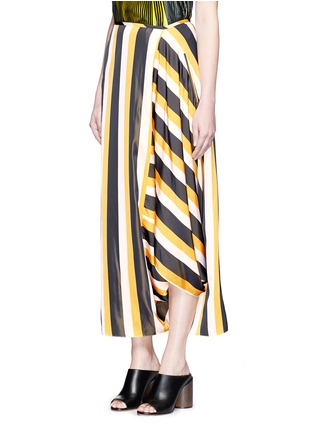 Front View - Click To Enlarge - Stella McCartney - 'Darmouth' contrast stripe asymmetric cropped pants