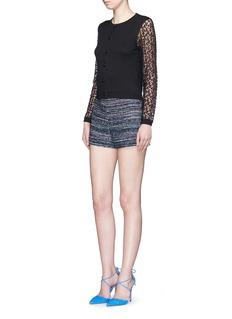 ALICE + OLIVIA'Iyanna' floral lace sleeve cardigan