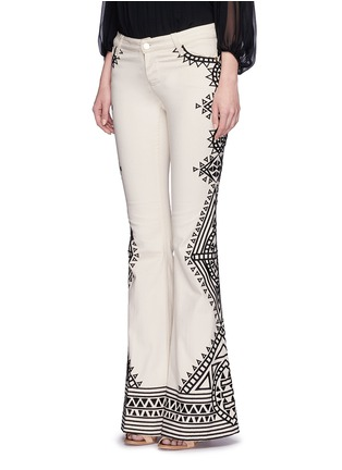 Front View - Click To Enlarge - alice + olivia - 'Ryley' tribal embroidery flare jeans