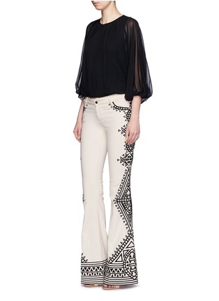 Figure View - Click To Enlarge - alice + olivia - 'Ryley' tribal embroidery flare jeans