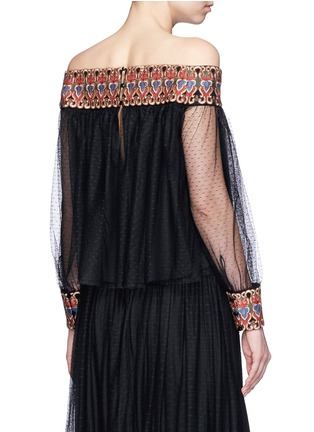 Back View - Click To Enlarge - alice + olivia - 'Sidney' embroidery off-shoulder peasant top