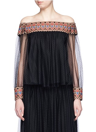 Main View - Click To Enlarge - alice + olivia - 'Sidney' embroidery off-shoulder peasant top