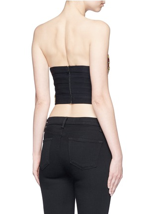 Back View - Click To Enlarge - alice + olivia - 'Saraphina' bead embellished silk cropped bustier
