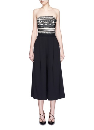 Main View - Click To Enlarge - alice + olivia - 'Emberly' beaded bodice strapless gaucho jumpsuit