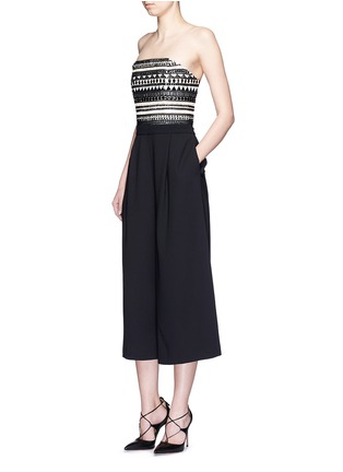 Figure View - Click To Enlarge - alice + olivia - 'Emberly' beaded bodice strapless gaucho jumpsuit