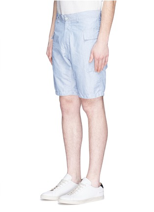 Front View - Click To Enlarge - Nanamica - Stripe dobby cargo shorts