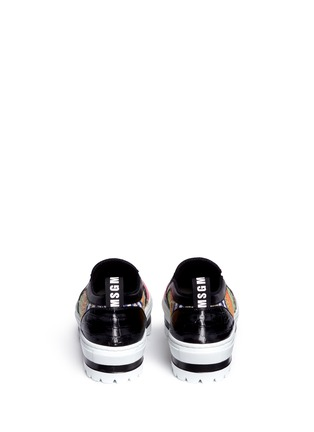 Back View - Click To Enlarge - MSGM SHOES - Textured stripe flatform slip-ons
