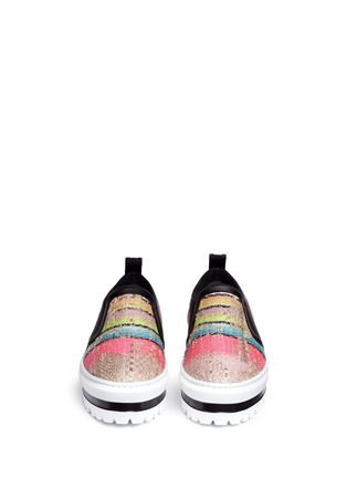 Front View - Click To Enlarge - MSGM SHOES - Textured stripe flatform slip-ons