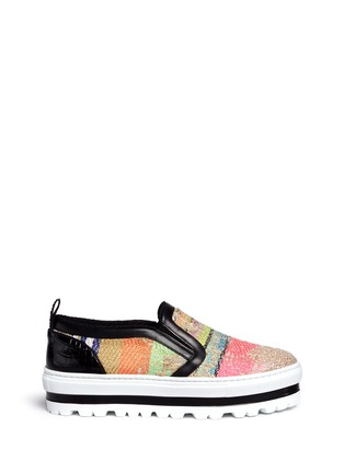 Main View - Click To Enlarge - MSGM SHOES - Textured stripe flatform slip-ons