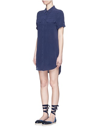 Front View - Click To Enlarge - Equipment - 'Slim Signature' short sleeve shirt dress