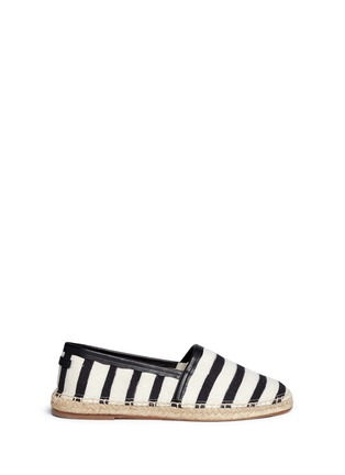 Main View - Click To Enlarge - Dolce & Gabbana - Stripe leather trim espadrille slip-ons