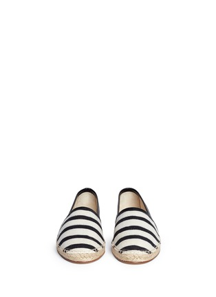 Figure View - Click To Enlarge - Dolce & Gabbana - Stripe leather trim espadrille slip-ons
