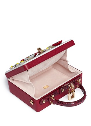 Detail View - Click To Enlarge - Dolce & Gabbana - 'Daisy' crystal floral appliqué Dauphine leather box bag