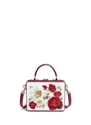 Back View - Click To Enlarge - Dolce & Gabbana - 'Daisy' crystal floral appliqué Dauphine leather box bag