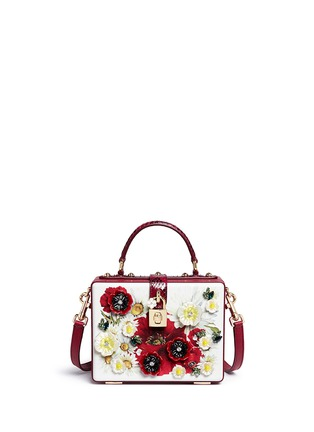 Main View - Click To Enlarge - Dolce & Gabbana - 'Daisy' crystal floral appliqué Dauphine leather box bag
