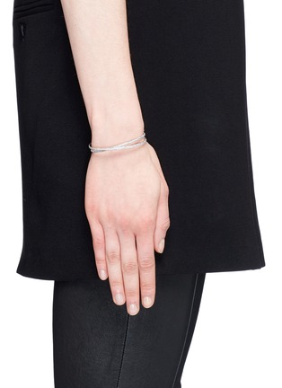 Figure View - Click To Enlarge - Maison Margiela Fine Jewellery - 'Anamorphose' diamond 18k white gold twisted bangle