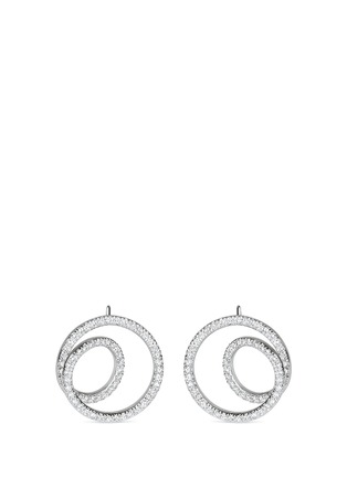 Main View - Click To Enlarge - Maison Margiela Fine Jewellery - 'Anamorphose' diamond 18k white gold small twisted earrings