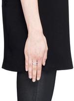 'Anamorphose' diamond 18k white gold twisted ring