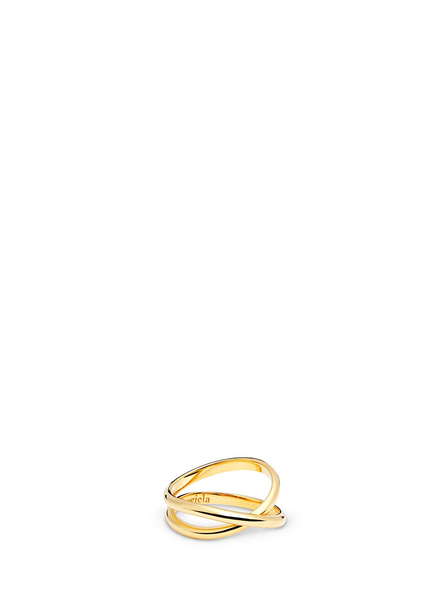Anamorphose 18k yellow gold twisted midi ring by Maison Margiela Fine Jewellery