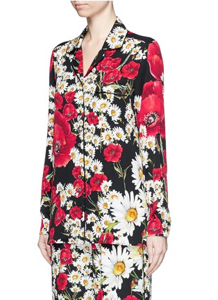 Front View - Click To Enlarge - Dolce & Gabbana - Floral print silk charmeuse pyjama shirt
