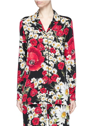Main View - Click To Enlarge - Dolce & Gabbana - Floral print silk charmeuse pyjama shirt