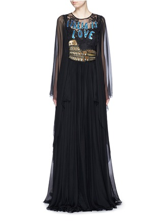 Main View - Click To Enlarge - Dolce & Gabbana - 'Italia is Love' Colosseum embellished chiffon gown