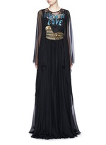 'Italia is Love' Colosseum embellished chiffon gown
