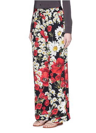 Front View - Click To Enlarge - Dolce & Gabbana - Mix daisy poppy print silk pyjama pants