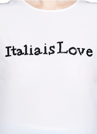 Detail View - Click To Enlarge - Dolce & Gabbana - 'Italia is Love' sequin slogan silk blend top