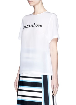 Front View - Click To Enlarge - Dolce & Gabbana - 'Italia is Love' sequin slogan silk blend top