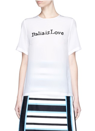 Main View - Click To Enlarge - Dolce & Gabbana - 'Italia is Love' sequin slogan silk blend top