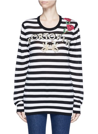 Main View - Click To Enlarge - Dolce & Gabbana - 'Portofino' sequin embroidery stripe sweater