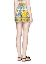 Maiolica flower print silk twill shorts