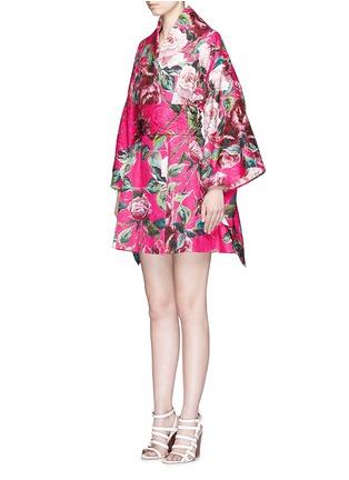 正面 -点击放大 - DOLCE & GABBANA - 玫瑰花锦缎和服式外套