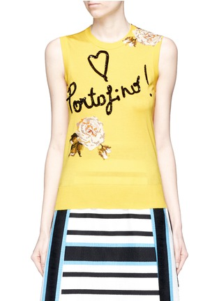Main View - Click To Enlarge - Dolce & Gabbana - 'Portofino' sequin embroidery knit sleeveless top