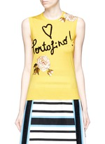 'Portofino' sequin embroidery knit sleeveless top
