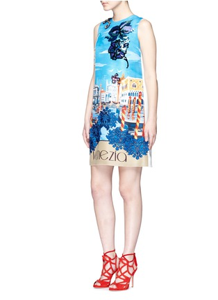 Figure View - Click To Enlarge - Dolce & Gabbana - 'Venezia' postcard print embroidery silk dress