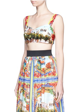 Front View - Click To Enlarge - Dolce & Gabbana - Postcard print cropped bra top