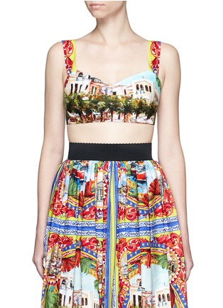 Main View - Click To Enlarge - Dolce & Gabbana - Postcard print cropped bra top