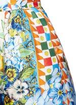 Orange floral foulard print silk twill shorts